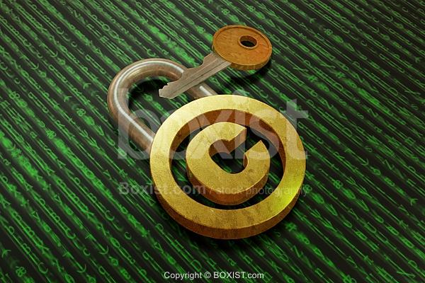 Copyright Lock With Key 3D Design