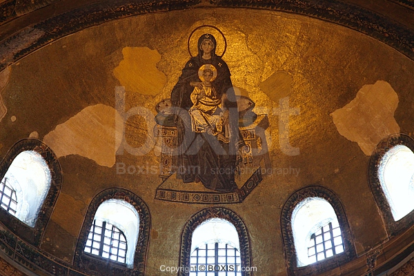 Virgin Mary With Infant Jesus Byzantine Mosaic In Hagia Sophia Apse
