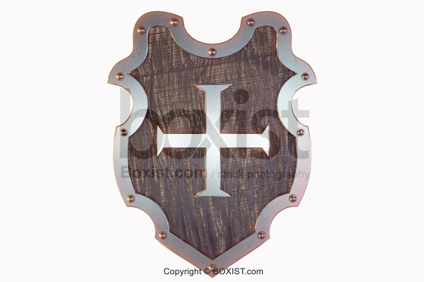 Middle Ages Shield With Cross Isolated On White Background