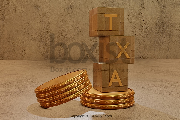 Tax Cubes Tower With Golden Money Coins