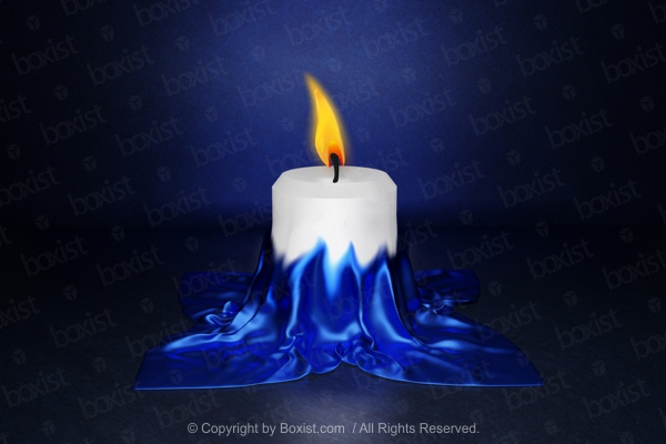 Candle Covered With Blue Fabric