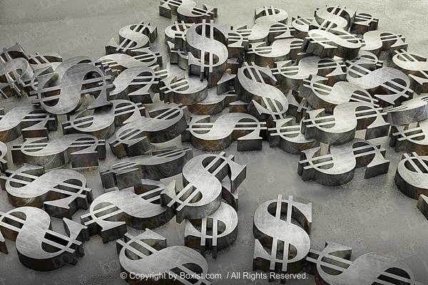 Metal Dollars Signs Scattered