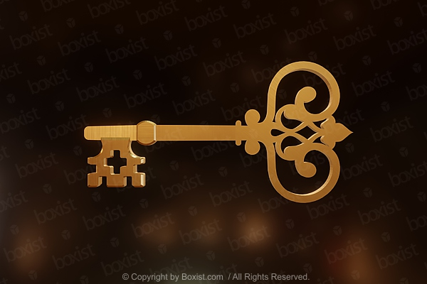 Vintage Golden Key In 3D Design