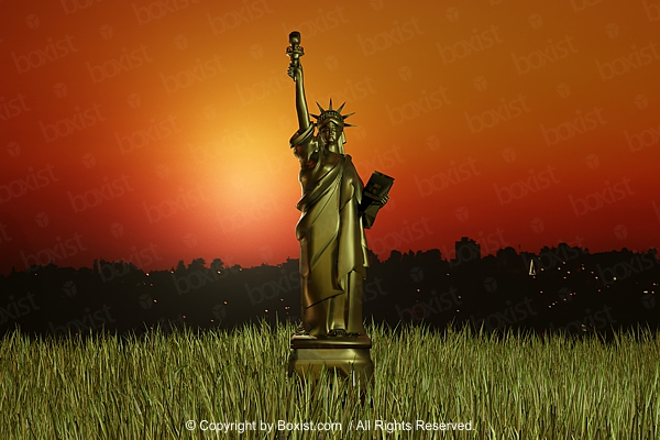 Statue Of Liberty Concept Design At Sunset