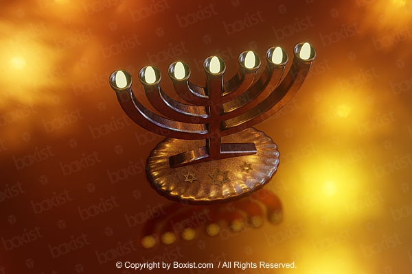 3D Jewish Golden Menorah