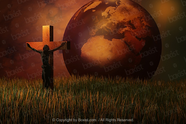 Jesus On Cross With Planet Earth In The Background