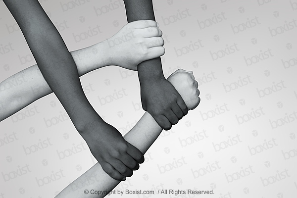 Black And White Children Four Hands Crossed Together