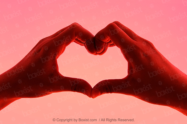Red Hands With Love Heart Symbol