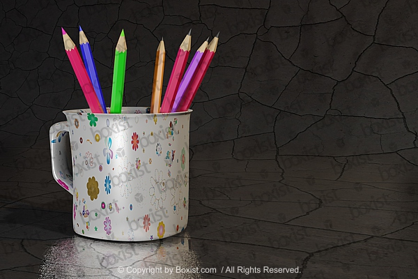 Mug With Colored Pencils