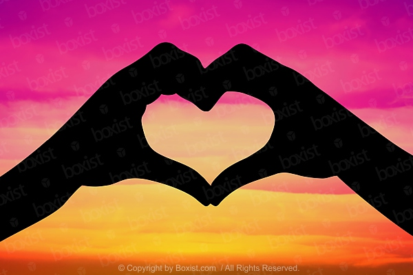 Love Heart By Two Hands At Sunset