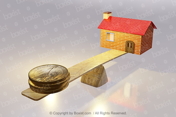 House And Money On Wood Scale