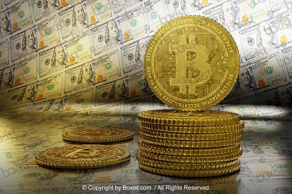 Bitcoins On Dollars Background