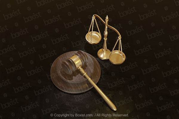 Judge Gavel And Scale On Wooden Surface