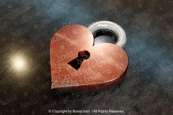 Rusty Lock In Love Heart Shape