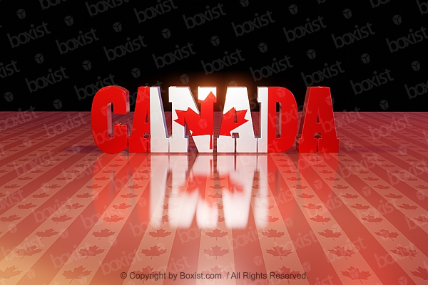 Canada In 3D With Flag Texture