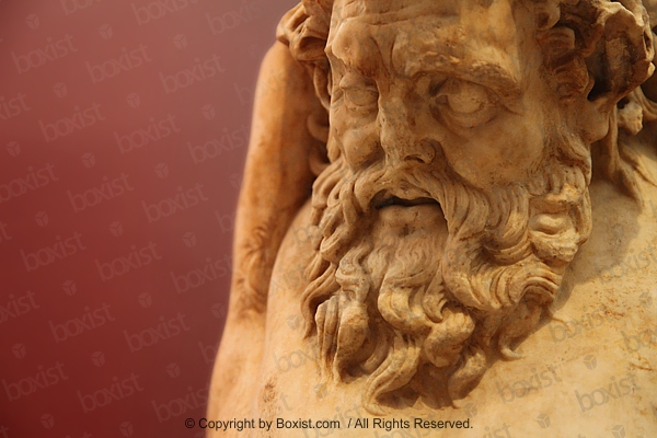 Closeup Of The Head Statue Of Marsyas