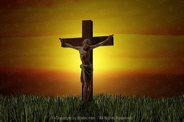 Jesus Hanged On Wooden Cross Concept Design