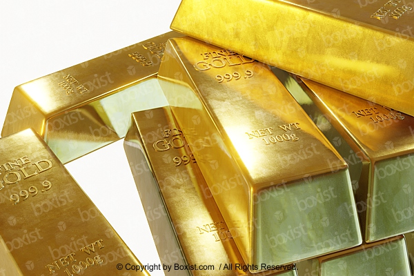 Closeup Stack Of Golden Bars