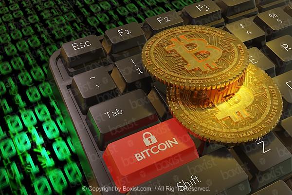 Closeup of Bitcoin On Keyboard