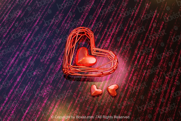 Abstract 3D Love Heart On Digital Background