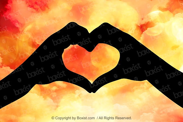 Hands Love Heart With Glowing Sky