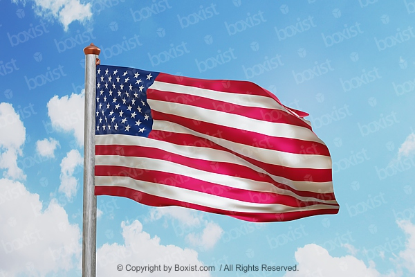 American Flag Waving With Blue Sky Background