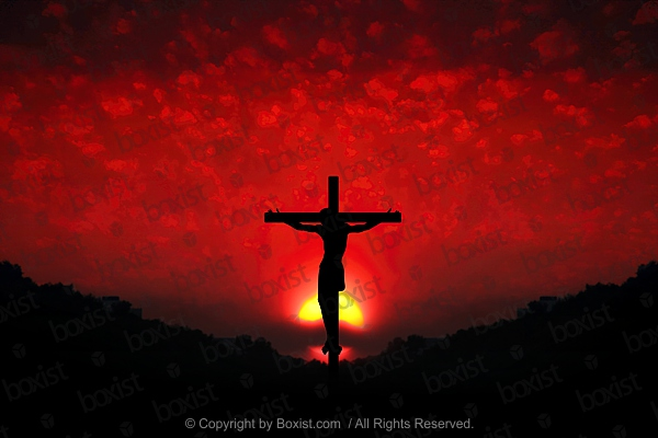 Jesus On The Cross With Red Sunset