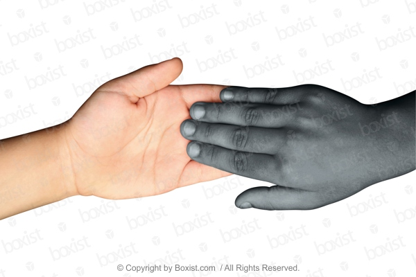 Black Hand Touching White Hand