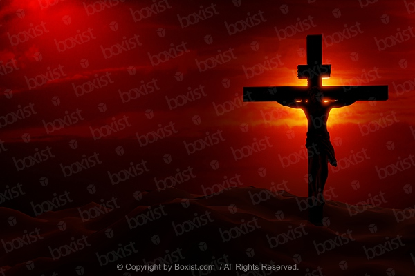Crucifixion Of Jesus At Sunset