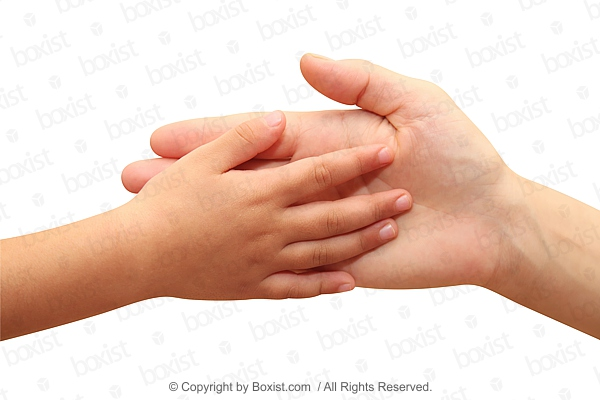 Kid And Mother Hands Touch