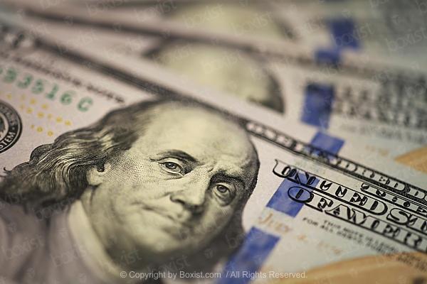 Focus On Benjamin Franklin On Hundred Dollar Bill