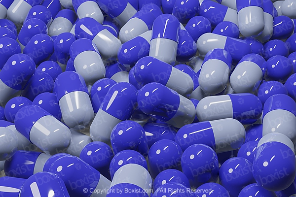 Blue Medicine Capsules