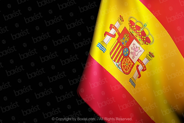 Waving Spain Flag On Black Background