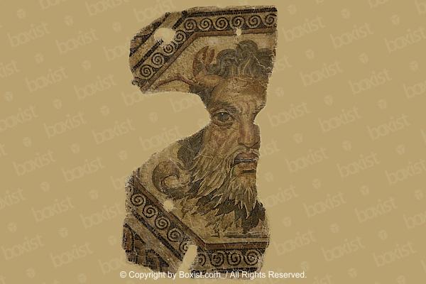 Head Of Ocean God Roman Mosaic Remains