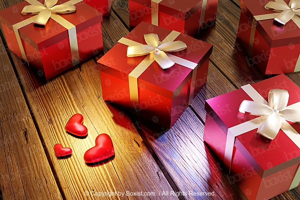 Gift Boxes With Love Hearts