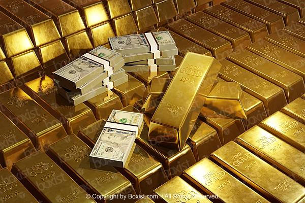 Golden Bars And Stacks Of Money