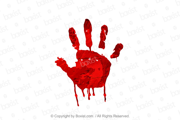 Red Handprint Painting On White Background