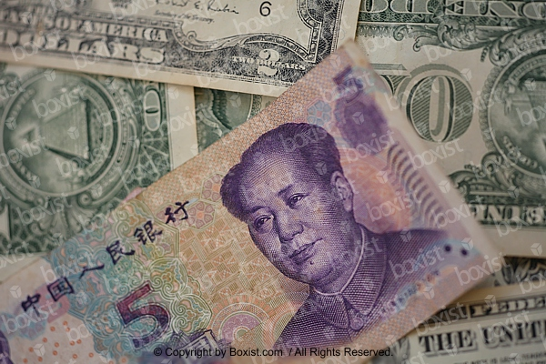 Chinese Banknote Of Five Yuan With American Dollars