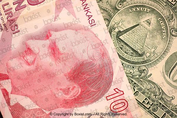 Ataturk Portrait Turkish Money With One Dollar Pyramid