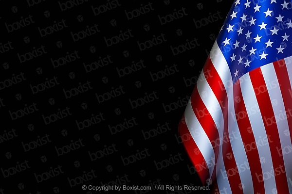 Part Of American Flag On Black Background