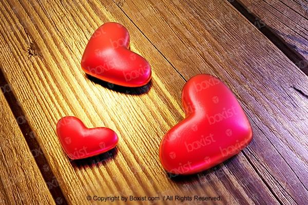Three Love Hearts On Wood