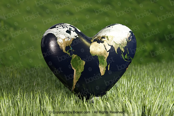 Heart Shaped Earth On Green Grass