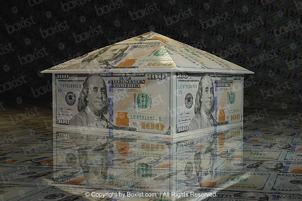Concept Of House Made From Dollars