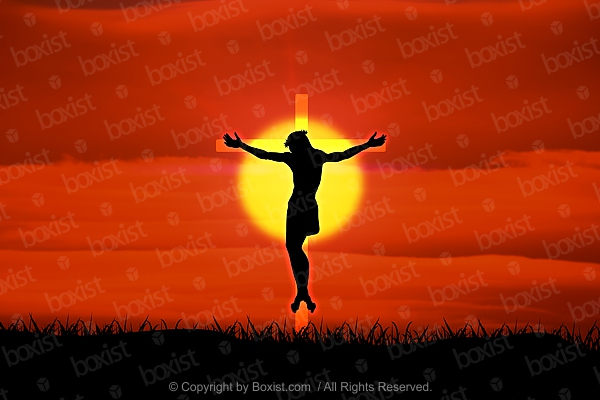 Jesus On Glowing Cross With Bright Sunset