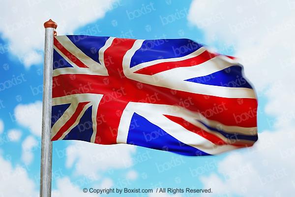 Waving British Flag In Wind
