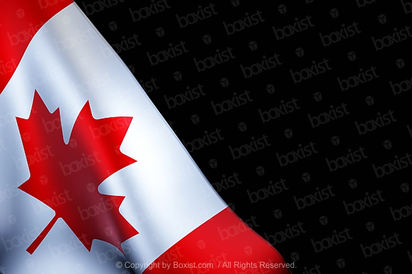 Waving Part Of The Canadian Flag On Black Background