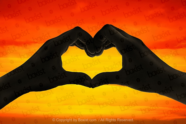 Silhouette Of Love Heart Hands At Sunset