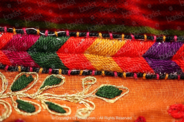 Closeup Of Embroidery Colorful Threads