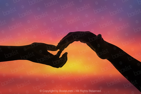Two Hands Apart Reaching Touching Each Other