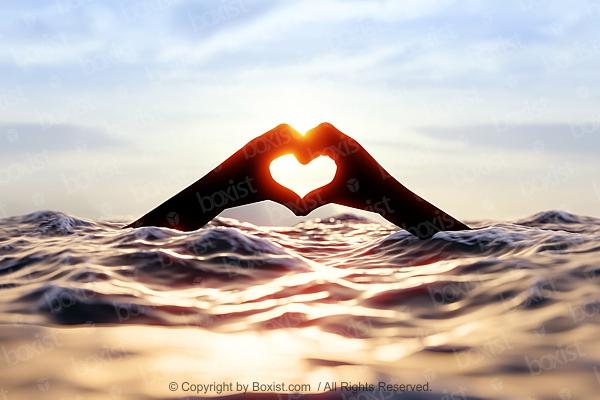 Hands Heart In Water
